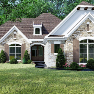 French Country House Plan With Vaulted Master Suite